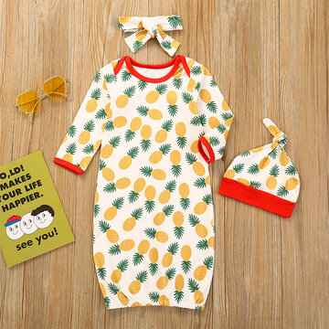 3PCs Baby Fruit Print Sleepwear For 6-24M