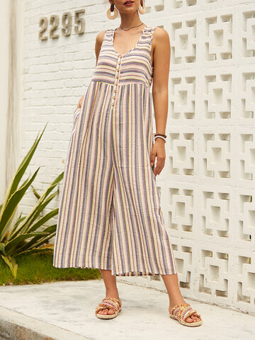 Chic Print gestreift Jumpsuit