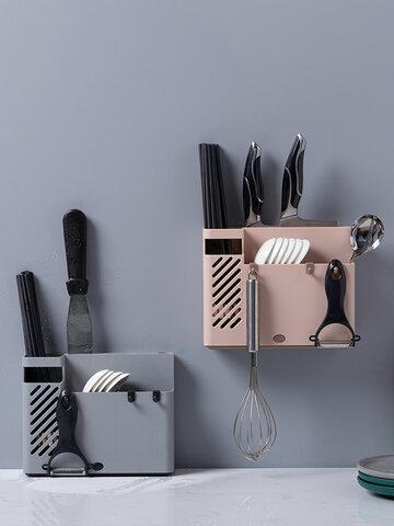 Creative Multifunction Kitchen Storage Organization Drain Chopstick Cage Wall Mounted Spoon Fork Racks Holder