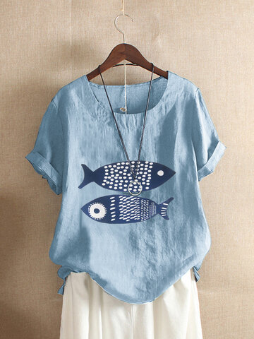 Cartoon Fish Casual T-Shirt