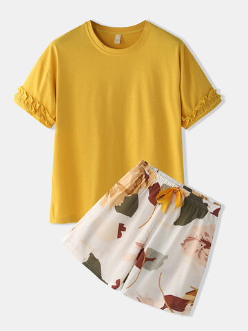 Print Pajamas Set With Plain Top
