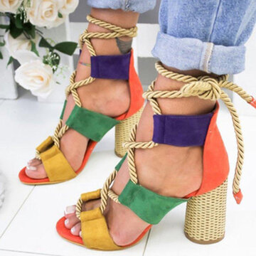 Lace Up Peep Toe High Heel Sandals