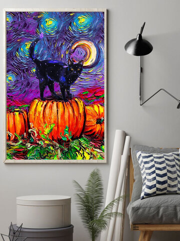 Black Cats And Pumpkin Unframed Abstract Oil Painting Canvas Wall Art Living Room Home Decor