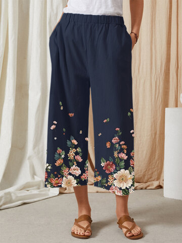 Flowers Print Casual Pants