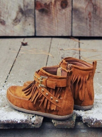 Suede Tassel Flat Ankle Boots