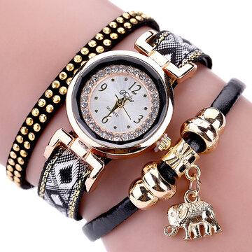 Мода Кварцевые наручные часы Многослойный кожаный ремень Слон Подвеска Браслет Часы для женщин