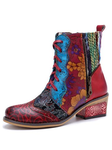 Socofy Leather Patchwork Woolen Cowboy Boots