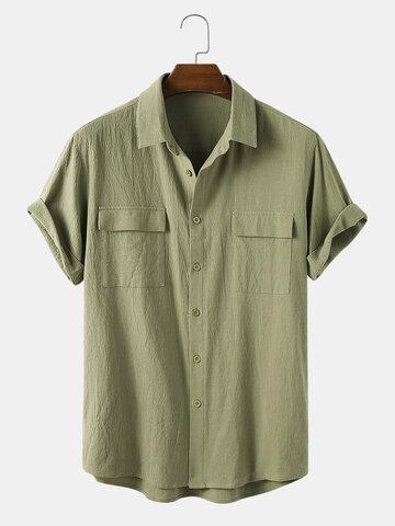 100٪ قميص قطني مزدوج الجيب