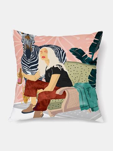 1 PC European Trend Models Peach Skin Velvety Cushion Cover Light Sofa Pillowcase Throw Pillow Cover