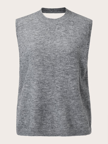 Solid Backless Sleeveless Sweater