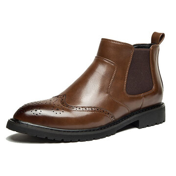 Men Brogue Elastic Band Slip On Chelsea Boots