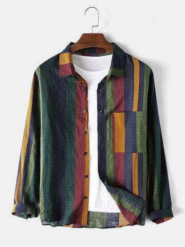 Cotton Linen Colorful Stripe Breathable Shirt