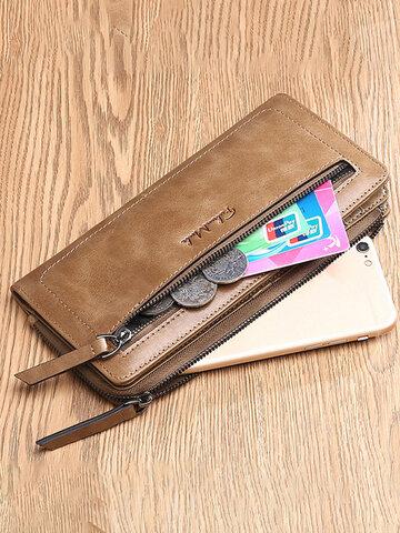 FALANMULE Genuine Leather Zipper Long Wallets Card Holder