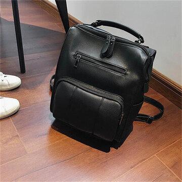 Women Faux Leather Wild Shoulder Bag Backpack School Bag