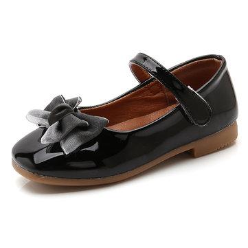 Girls Bowknot Hook Loop Flat Dress Shoes
