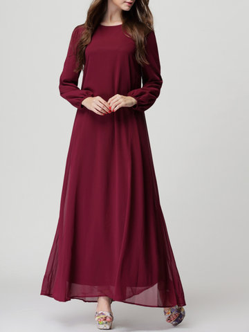 Pure Color Chiffon Long Maix Dresses