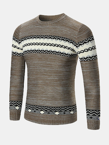 Mens Fall Winter National Style Printed Knitted Round Neck Long Sleeve Casual Sweater