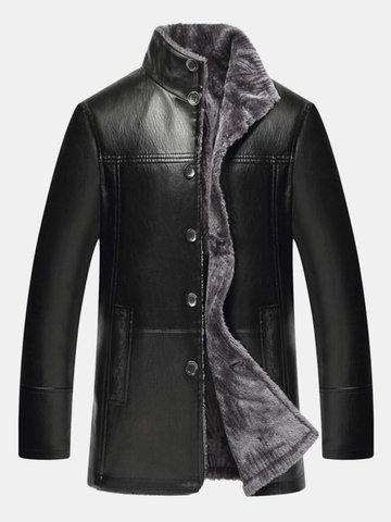 Abrigo de la chaqueta de la PU del collar del soporte de un solo pecho ocasional de los hombres