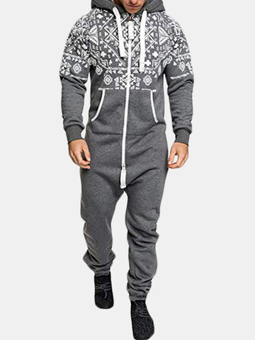 Slim Siamese Sweater Hooded Overalls Male Jumpsuit