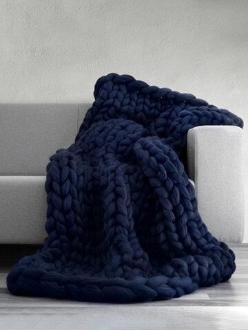 100*80 cm Soft Warm Hand Chunky Knit Blanket