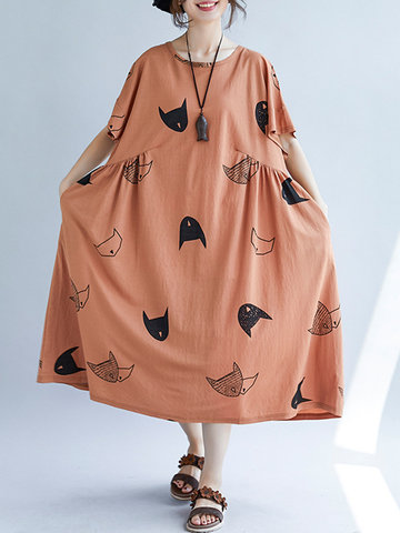 Loose Cat Print Vestidos Mid-long Vintage