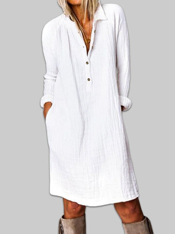 Cotton Button Casual Dress