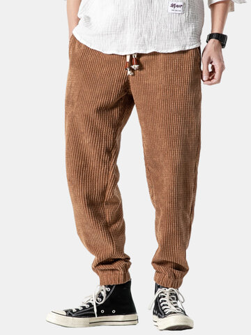 Corduroy Design Cotton Solid Harem Pants