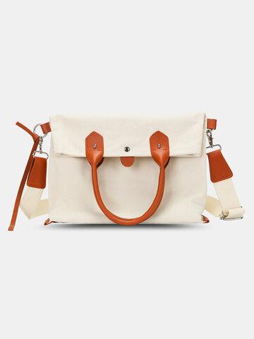 White Canvas Business Briefcase