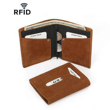 RFID Herren Multifunktionskartenhalter aus echtem Leder Geldbeutel