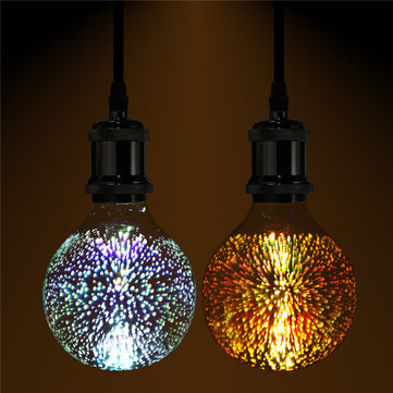 3D Fireworks E27 G80 LED Retro Edison Decor Glass Bulb Light Lamp AC85-265V Cafe Home Decor, Warm white white