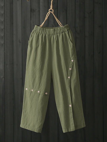 Solid Color Button Plus Size Pants