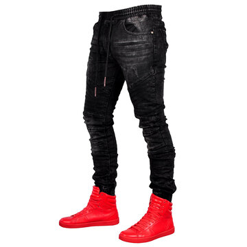 Mid Waist Stone Washed Jeans