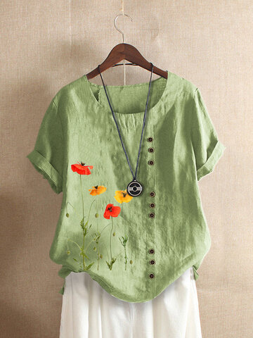 Flower Print Short Sleeve T-Shirt