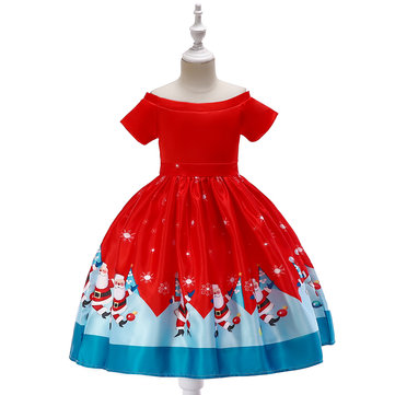Christmas Pattern Girls Dress For 3Y-13Y