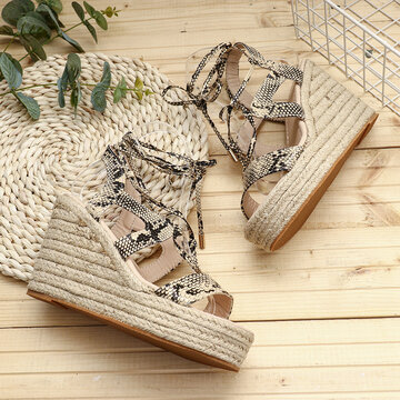 Solid Color Lace Up Wedges Sandals