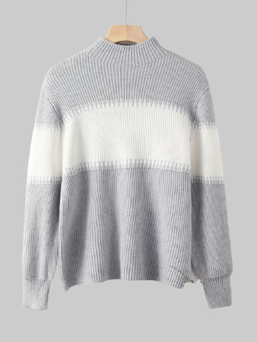 Contrast Color Striped Casual Sweater
