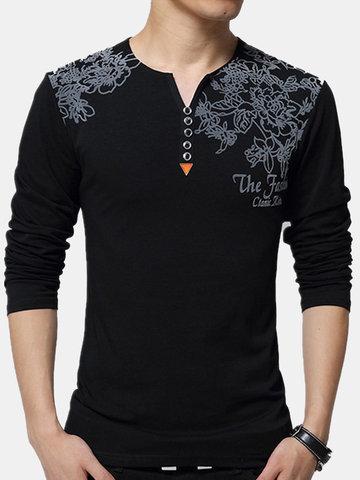Camisa de manga comprida Casual O-pescoço