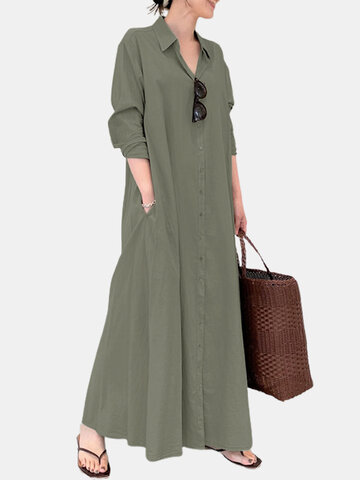 Solid Color Pocket Casual Dress
