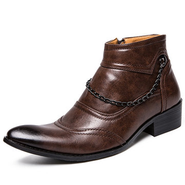 Men Retro Microfiber Leather Casual Boots