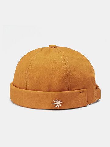 Men & Damen Krempenlose Hüte Einfarbige Kokosnussbaum-Etikett-Schädelkappen