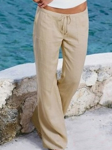 Casual Solid Color Pockets Pants