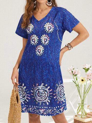 Bohemian Print Short Sleeve Dress
