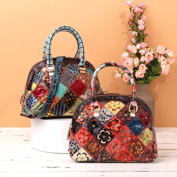 Women Genuine Leather Bohemian Floral Crossbody Bags