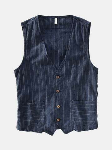 Gilet in lino a righe
