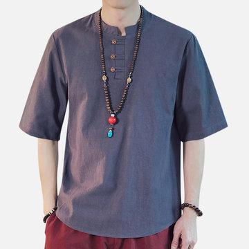Mens chinesischen Stil Baumwolle Leinen Kurzarm-T-Shirts