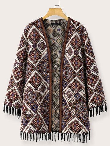 Ethnic Pattern Tassel Hem Jacket