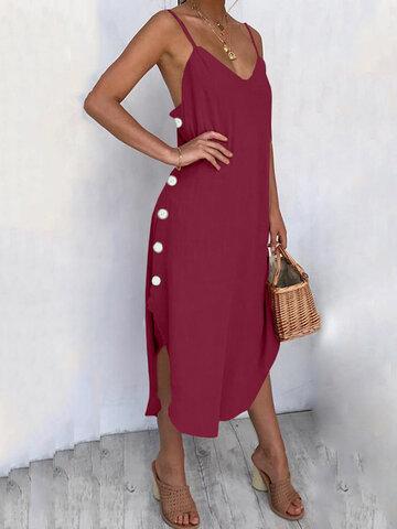 Solid Sexy V-neck Dress