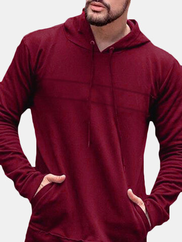 Pullover Long Sleeve Big Pocket Hooded Sweatshirt