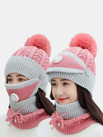 Women 3PCS USB Charging Heating Warm Knitted Hat Scarf Mask