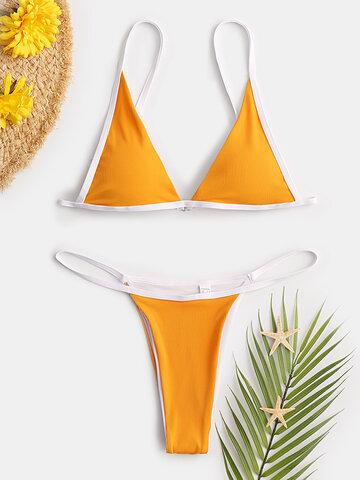 Triangle Solid Thong Bikinis